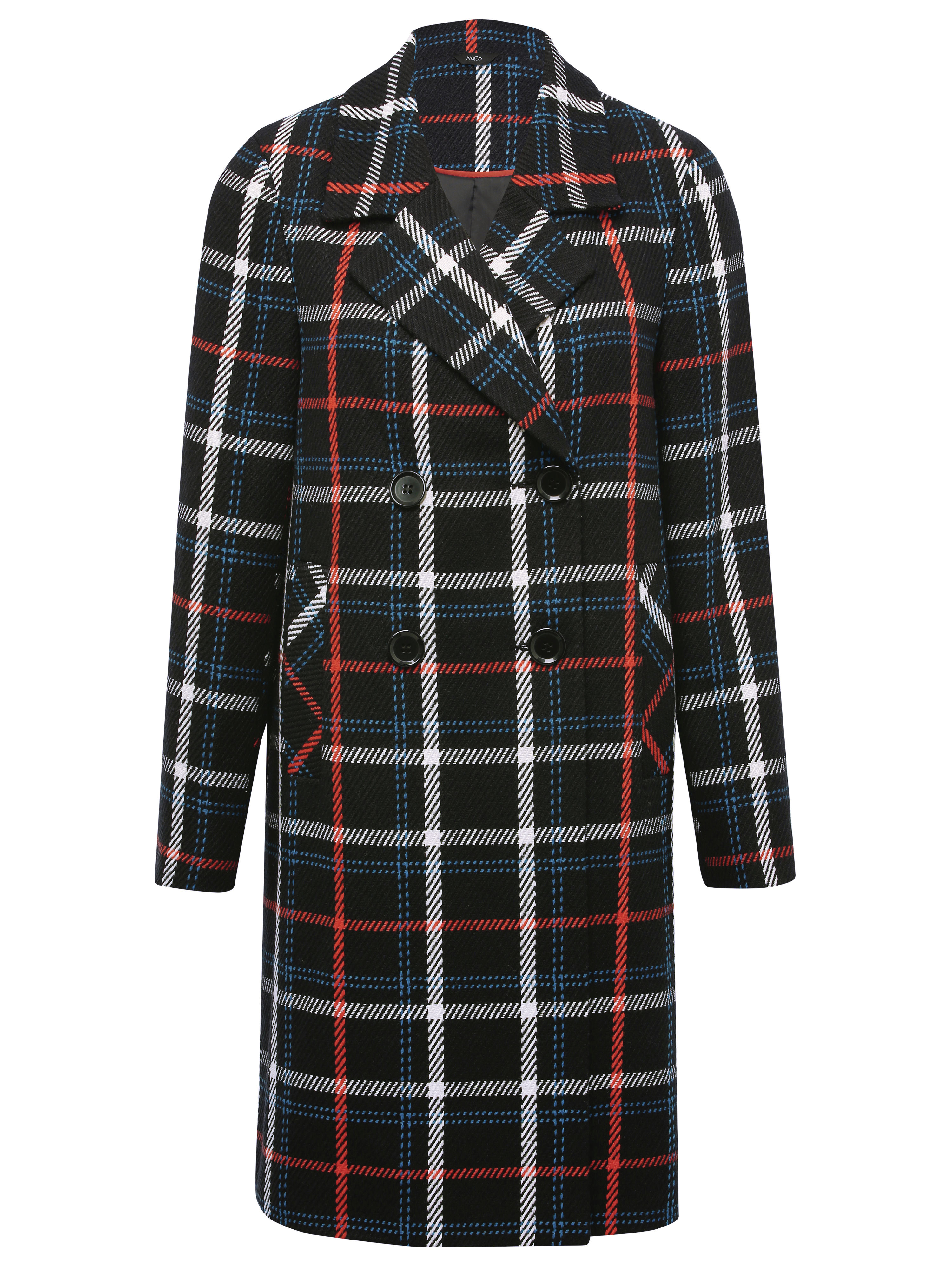 Blue, red and white check coat £75